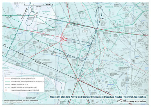 Departure and Arrival Routes - runways 27L and 28R